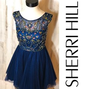 Sherri Hill Pleated Tulle Beaded Dress